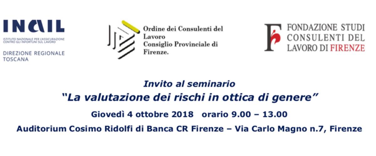 """Seminario """"La valutazione dei rischi in ottica di genere"""" 4 Ottobre 2018"""